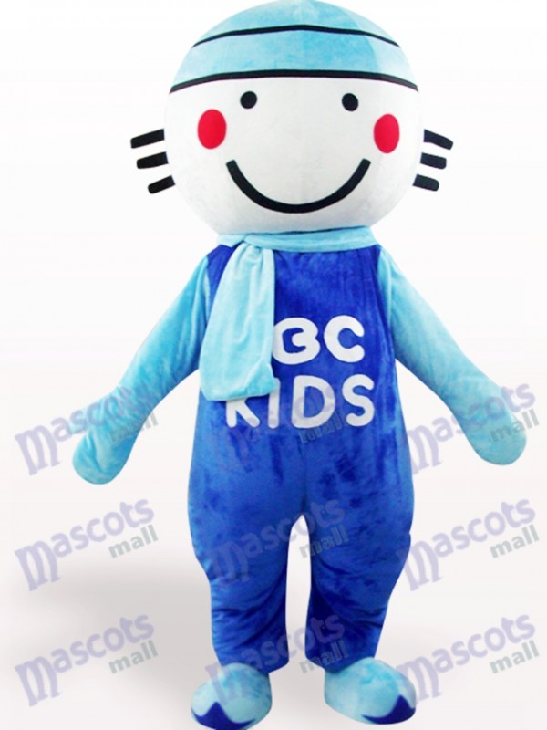 Blaues rundes Hauptpuppen Karikatur erwachsenes Maskottchen Kostüm