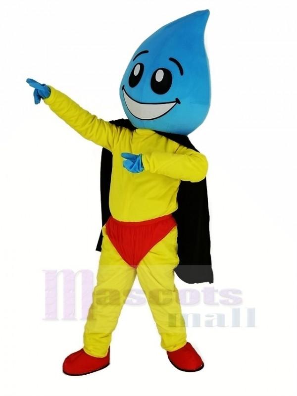 Wasser Fallen Übermensch mit Schwarz Kap Maskottchen Kostüm
