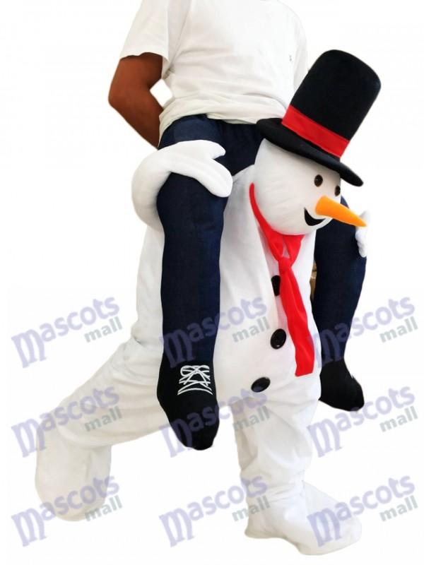 Piggyback Schneemann Carry Me Ride White Schneemann Maskottchen Kostüm