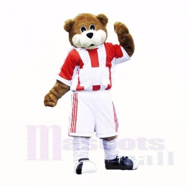 Fußball Bär mit rot und Weiß T-Shirt Maskottchen Kostüme Schule