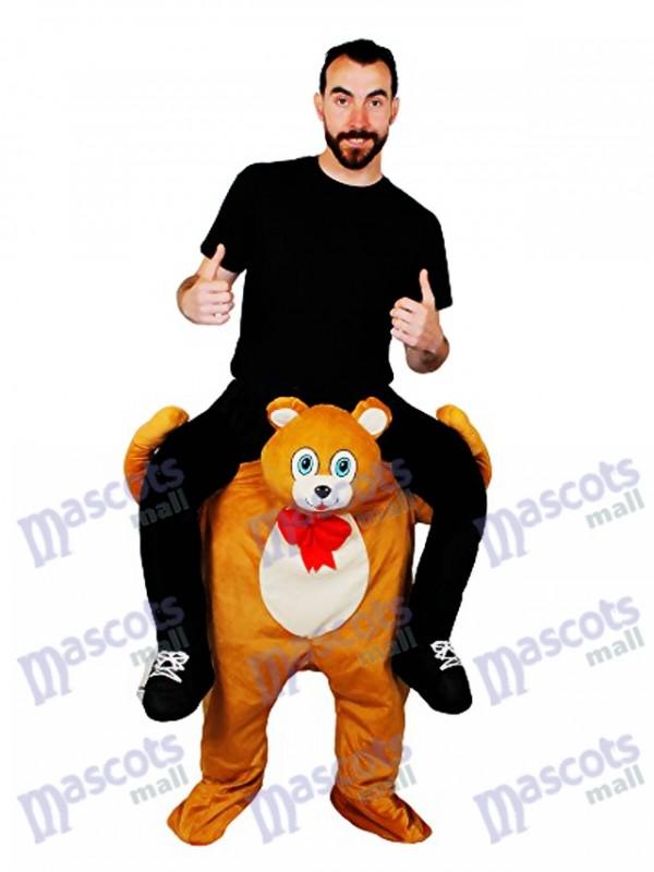 Huckepack Teddybär tragen mich Fahrt Braunbär Maskottchen Kostüm